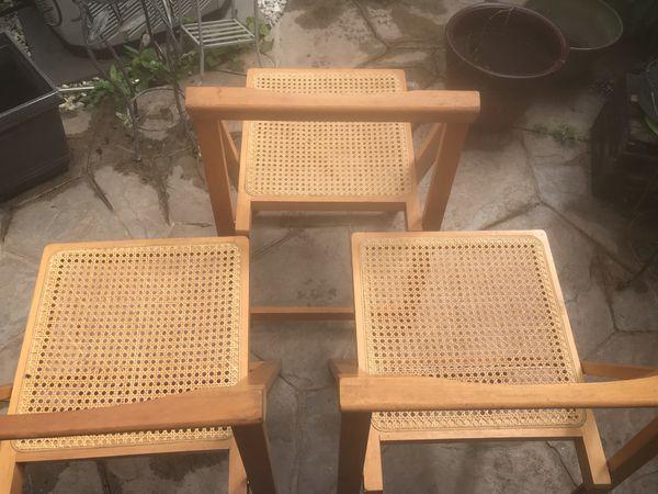 3 mid century rattan folding chairs danish