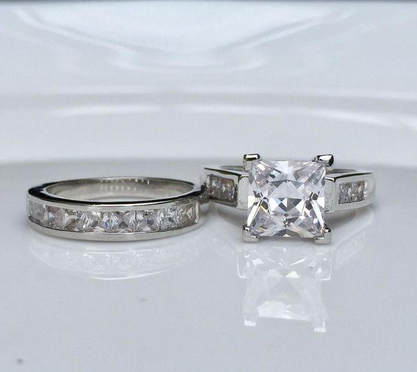 925 silver filled wedding engagement ring band set size 6,7,8,9,10 available extremely gorgeous!