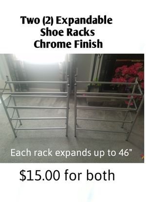 2 Expandable Shoe Racks, Chrome Finish - Excellent Condition for Sale in Buford, GA