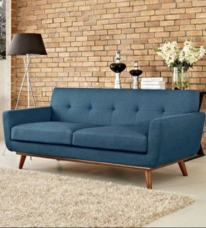 Modway Engage Mid-Century Modern Upholstered Fabric Sofa In Azure / couch for Sale in Glendale, AZ