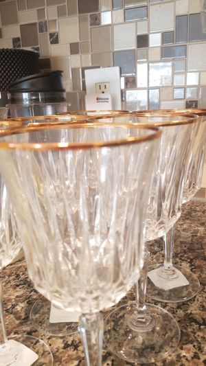Set of six wine glass crystal, Fine Quality. for Sale in Mesquite, TX