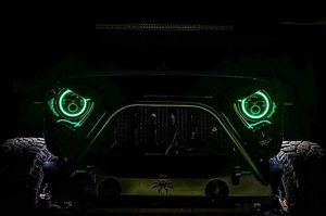 """7"""" Round Jeep Wrangler TJ JK Black Projector LED Headlights with RGB Halos for Sale in Anaheim, CA"""