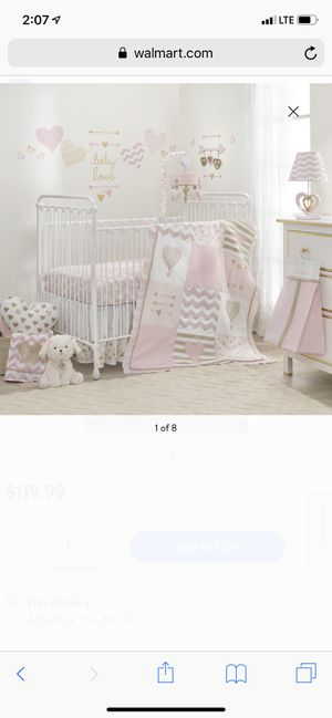 Beautiful pink & gold baby girl bedding for Sale in Norfolk, VA
