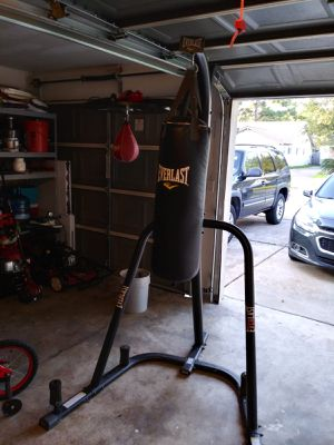 Everlast punching bag and speed bag with stand. for Sale in Houston, TX