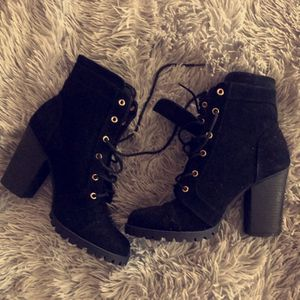 Black Suede Combat Style Heeled Boots for Sale in St. Louis, MO