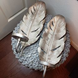 ZGallerie Silver Feather Wall Sconce Candle Holder Pair for Sale in Los Angeles,  CA