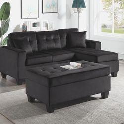 Naomi Reversible Sectional Sofa with Ottoman Black Velvet for Sale in Houston,  TX