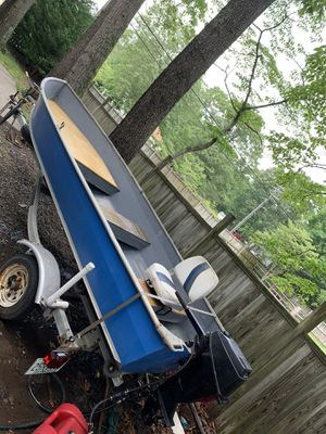 14' jon boat with LoadRite trailer and 15hp mercury motor for Sale in Severna Park, MD