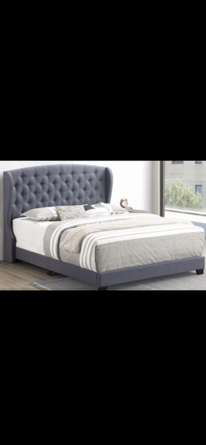 Queen bed frame with mattress and box spring 400$ everything complete bed delivery available same as picture for Sale in Chicago, IL