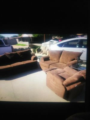 Brown Couch and loveseat with recliner chair and two glass end tables for Sale in Glendale, AZ