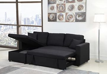 🔥New! Black comfy sofa chaise sectional + storage for Sale in Escondido,  CA