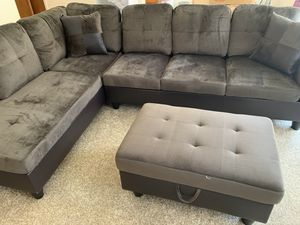 New 3pc Grey Sectional Sofa Set for Sale in Auburn, WA