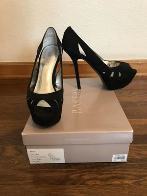 Black suede high heels pumps open toe for Sale in Los Angeles, CA