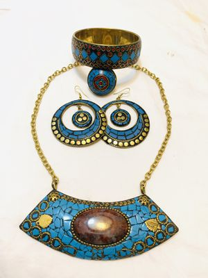 Turquoise brass necklace sets for Sale in San Jose, CA