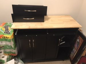 Utility Kitchen Cart w/ Storage Cabinets, Handles, Cutting Board READ DESCRIPTION for Sale in Raleigh, NC