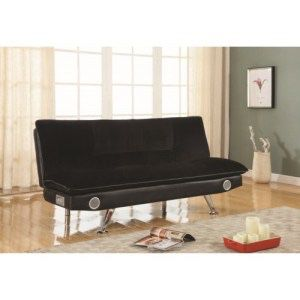Brand New Futons Black Leatherette Sofa Bed with Bluetooth Speakers for Sale in Atlanta, GA