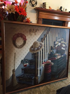 Authentic in nature and large in size Country canvas painting framed for Sale in Winder, GA
