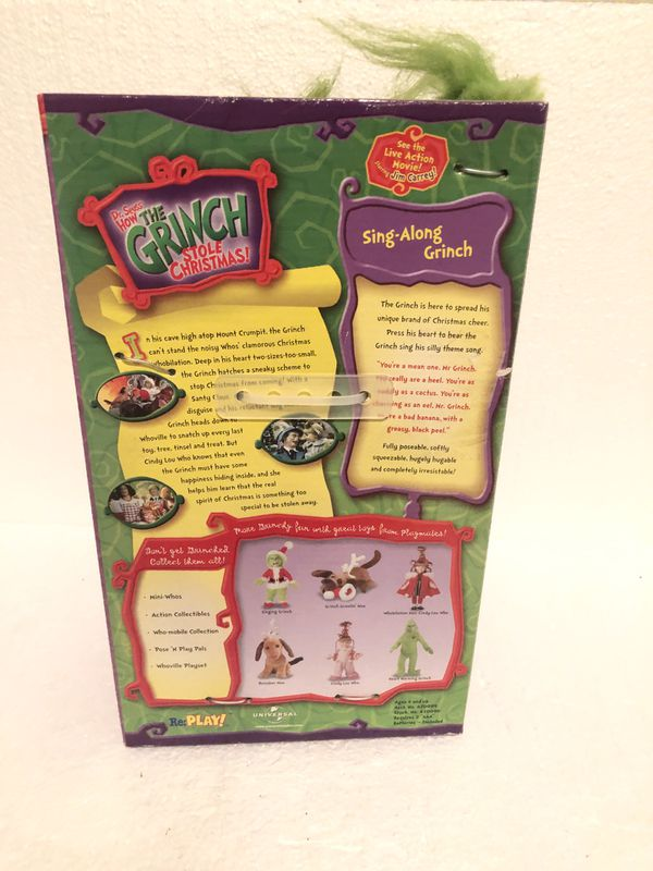 2000 HOW THE GRINCH STOLE CHRISTMAS SING-ALONG GRINCH IN BOX~NOS~DR SEUSS Rare