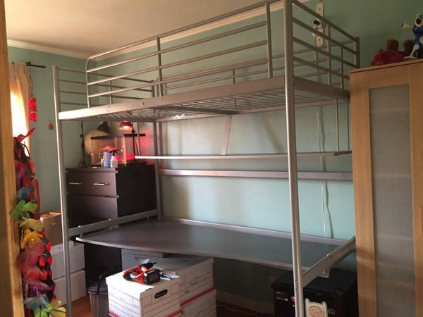 Ikea Quot Svarta Quot Loft Bed With Shelf And Large Desk For Sale