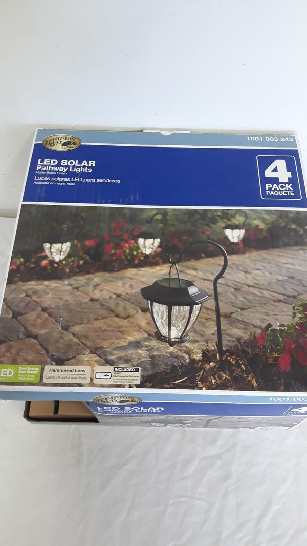 Awesome solar LED Shepherd hook landscape path lights with hammered Glass Lens 4-pack