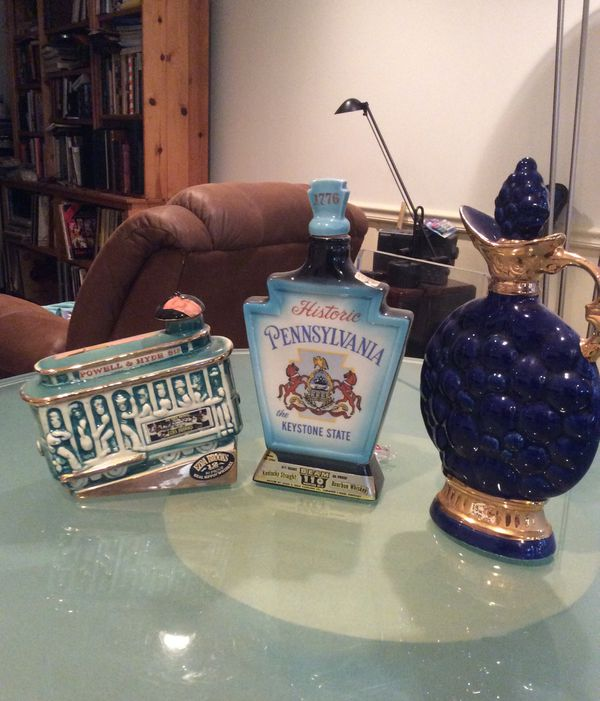 3 Collectible Jim Beam Bourbon Whiskey. Bottles - 1960's. All 3 for Just $20