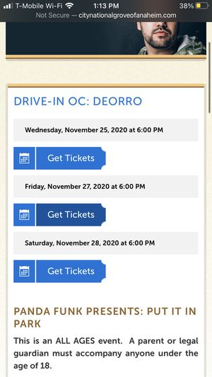 Friday Drive-in Ticket for Deorro for Sale in Norwalk, CA