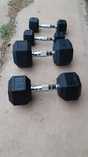 Rubber coated dumbbells for Sale in Saginaw, TX