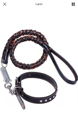 Leather Dog Lash and Collar heavy duty for Sale in Los Angeles, CA