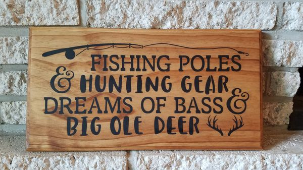 "Handmade wooden sign ""fishing poles..."""