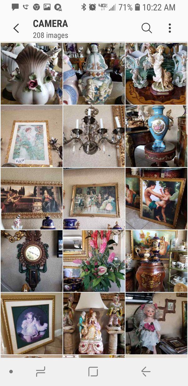 Capodimonte, lemoge,antique, furniture, chandelier.