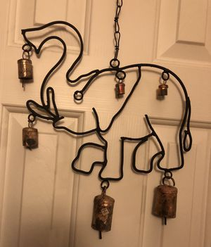 """18"""" tall HAPPY GOOD LUCK ELEPHANT WINDCHIME. 12"""" wide x 18"""" tall (including chain) for Sale in Sun City, AZ"""