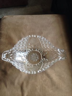 "Vintage collectible handmade cut glass fruit bowl 14x8"" for Sale in National Park, NJ"
