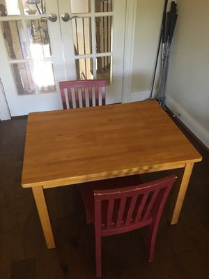 Pottery Barn Kids table and 2 red chairs for Sale in Flower Mound, TX