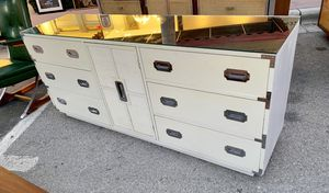 MID CENTURY MODERN CAMPAIGN STYLE CREDENZA WITH MIRROR TOP for Sale in Oakland Park, FL