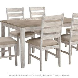 NEW, WHITE/LIGHT BROWN 7 PC DININGR TABLE SET. for Sale in Chino,  CA