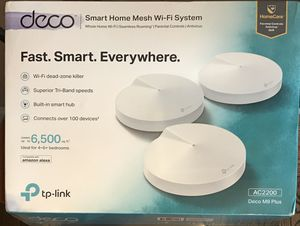 New sealed TP-link Deco M9 Plus 3 pack smart home mesh ac2200 WiFi router system for Sale in Mountain View, CA