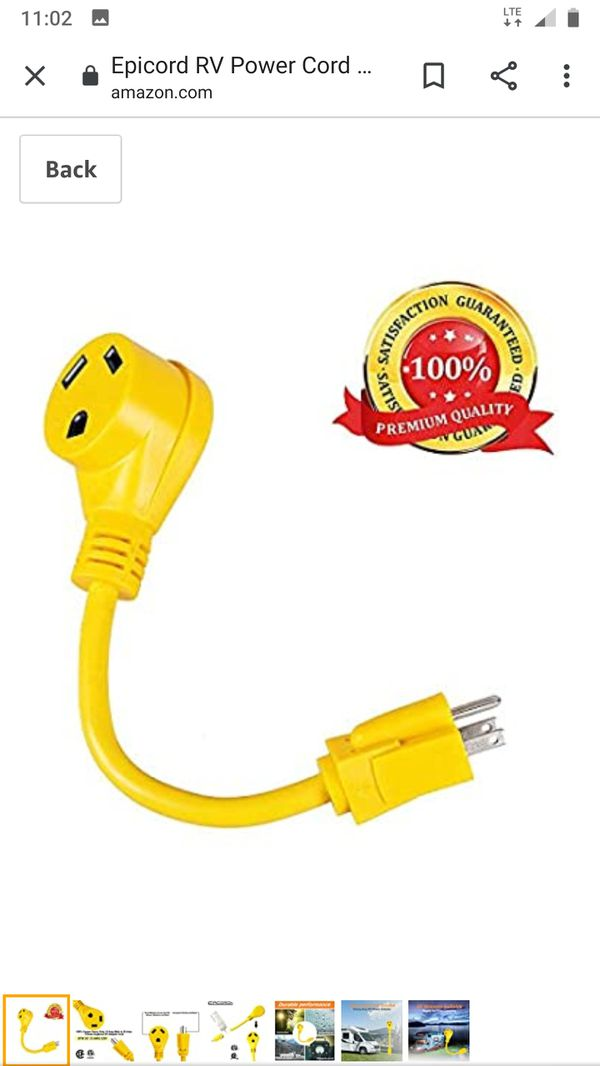 "Epicord RV Power Cord Dogbone RV Power Adapter with Handle 12"" 12AWG/3 Cord (15M30F)"