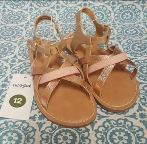 Cat & Jack Toddler Girls Jacky Elsa Cross Band Sandals Gold Size 6, 9 and 12 available for Sale in Orlando, FL