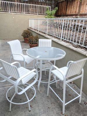 Bar height outdoor white dining set for Sale in Cupertino, CA