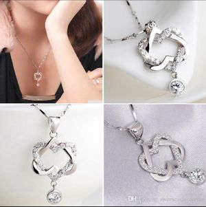 Double Heart Pendant Necklace Jewelries Chain Trinket Flawless Women Necklaces Exquisite Choker for Sale in Brooklyn, NY