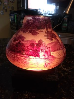 French cut Crystal JAL - red forest, castle, mountain & lake landscape for Sale in Hialeah, FL