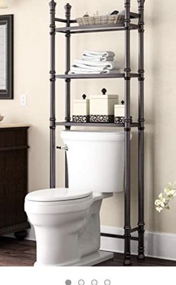 Metal Behind The Toilet Rack With Glass Shelves for Sale in Oregon City,  OR