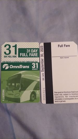2 new bus pass $45 each no less for Sale in San Bernardino, CA