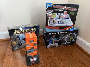 Set of 4 Board Games for Kids, Jenna Quake, Laser Maze, Virtual LED Space Pong, Pathfinder Beginner Box, $110 Value for Sale in Alexandria, VA