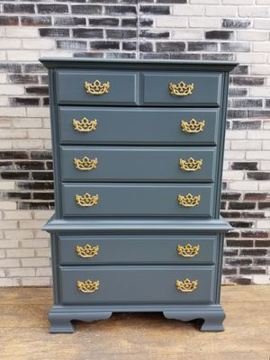 French provincial/ Crdenza Tall dresser . 6 dresser. Charcoal gray for Sale in Westchester, CA