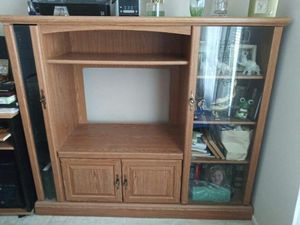 oak wood media console entertainment center TV storage stand glass door cabinet shelf unit for Sale in San Bruno, CA