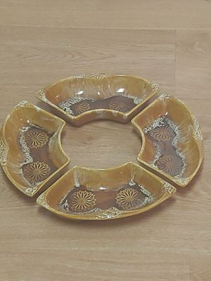 Used, MINT Vintage 1960's signed Wade of California USA Pottery 4 separate piece round shaped brown ceramic serving tray for Sale for sale  NW PRT RCHY, FL