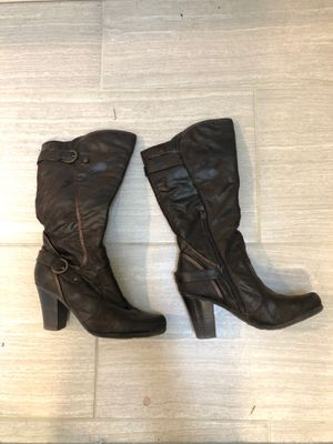 Women's size 7 brown heeled mid calf dress boots for Sale in Maple Valley, WA