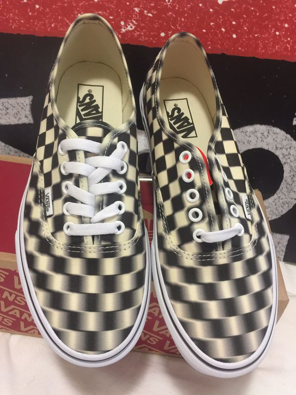 Vans authentic checker (blur check)black/classi size 9 men's