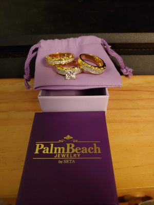 Real Gold plated three piece engagement and wedding rings for Sale in Murfreesboro, TN